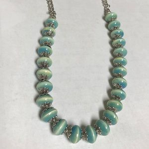 Cream and Turquoise Stone Beaded Necklace